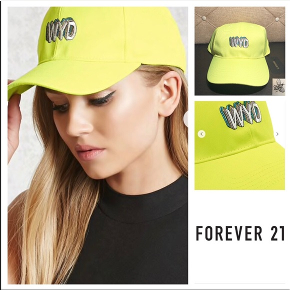 "9ace4a346e28c Forever 21 Cute Highlighter Yellow ""WYD"" Hat"